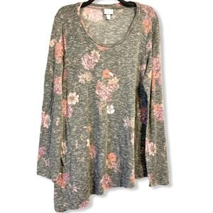 Isabel Asymmetrical Floral Tunic Maternity Gray